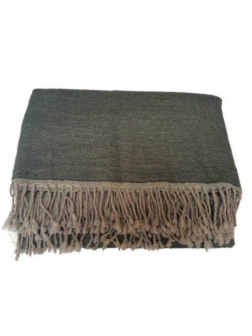 Reversible Plan Wool Blanket